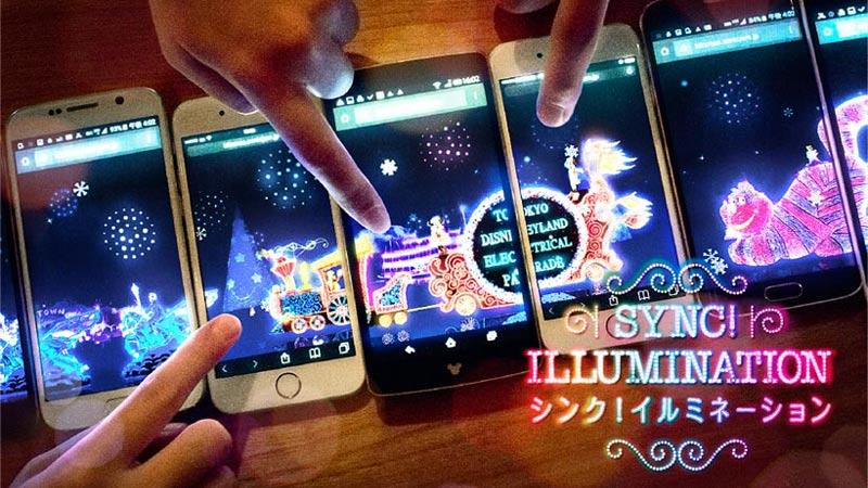 みんなでスマートフォンを繋げて、クリスマス限定の光り輝くパレードを楽しもう!のイメージ