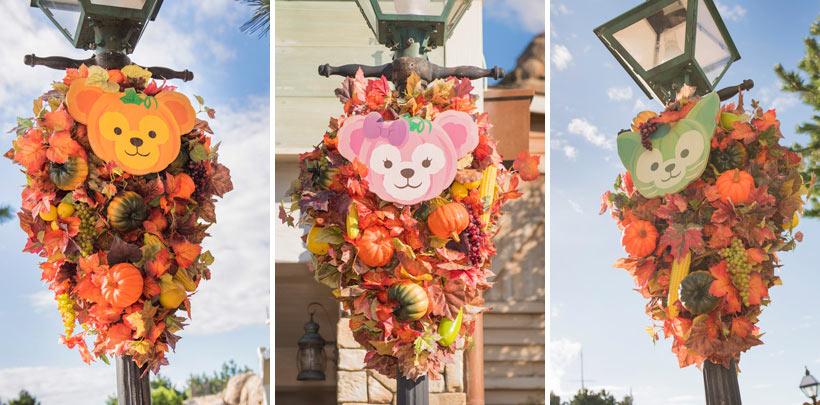 ダッフィー、シェリーメイ、ジェラトーニのハロウィーン感あふれる飾り