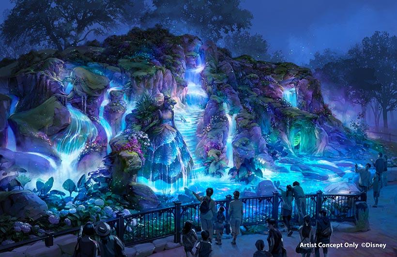 ファンタジースプリングス内の泉(夜)の画像