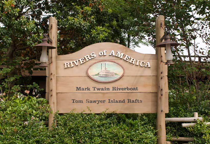 アメリカ河の看板