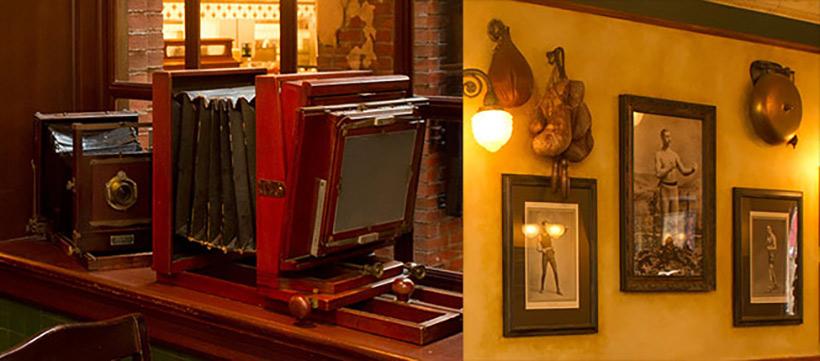 「ニューヨーク・デリ」の店内にあるカメラやボクシンググローブの画像