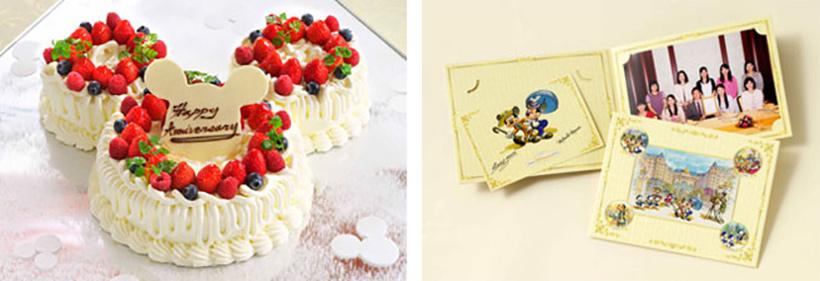 ミッキーの形をしたケーキとオリジナルフォトフレームの画像