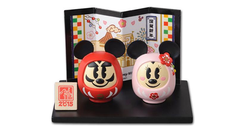 ミッキーとミニーのだるまの置物の画像