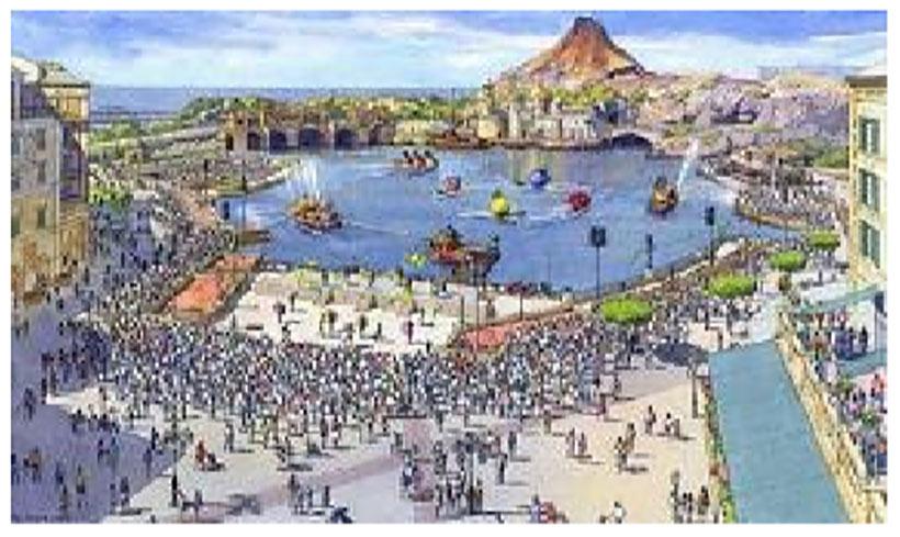 ショー鑑賞エリアの再整備の例(イメージ)画像