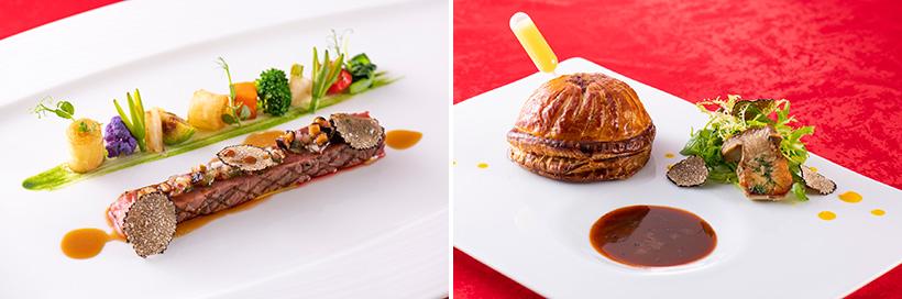 (左)和牛サーロインのグリル,(右)和牛フィレ肉のパイ包み焼き