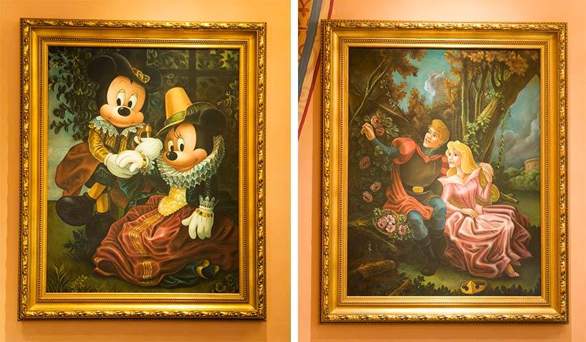 ミッキーとミニー、眠れる森の美女の絵画