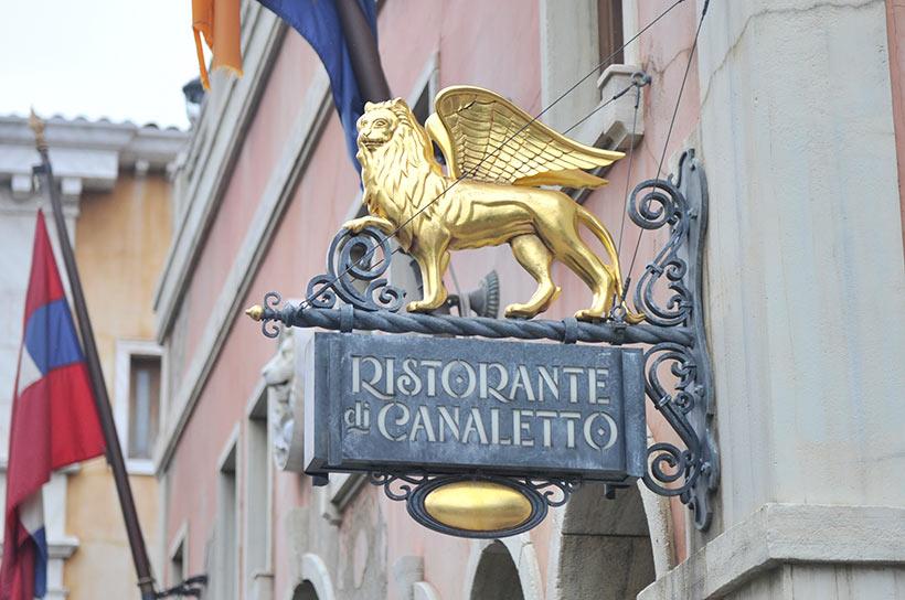 「リストランテ・ディ・カナレット」の翼の生えた獅子の看板画像