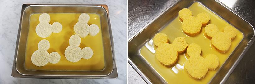 食パンを卵液に浸す