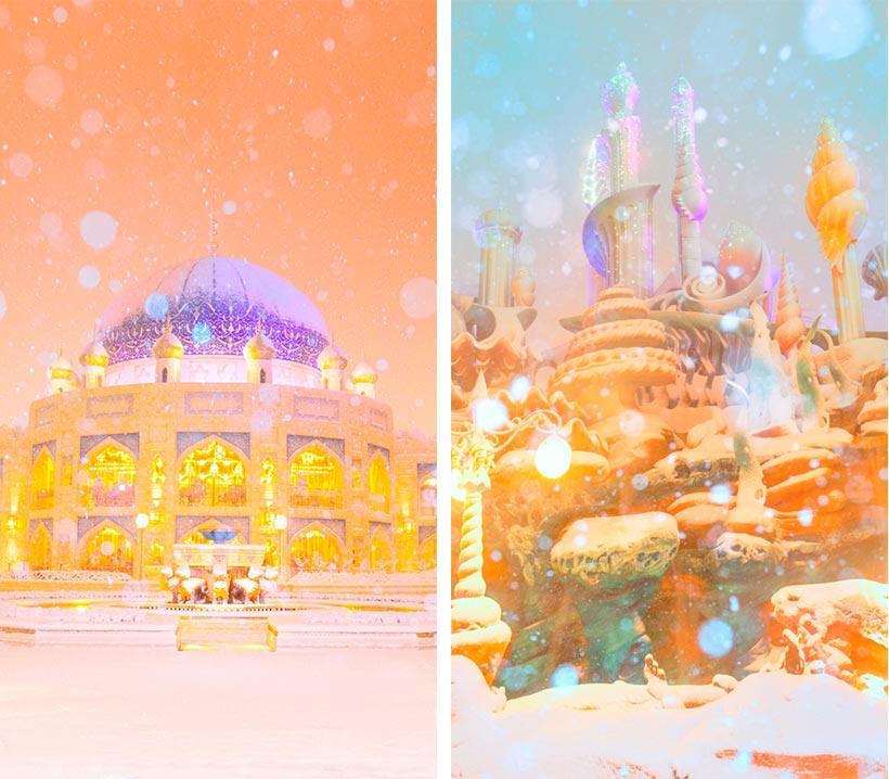 アラビアンコーストとマーメイドラグーンの雪景色の画像