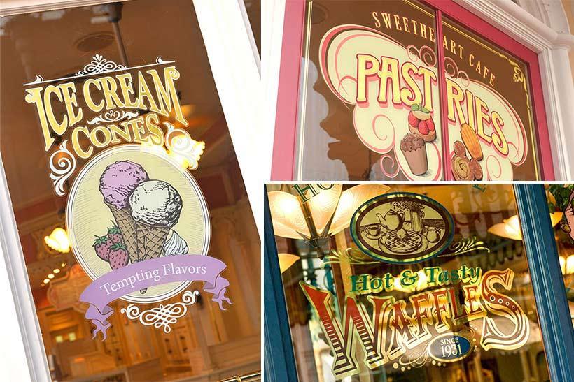 「アイスクリームコーン」「スウィートハート・カフェ」「グレイトアメリカン・ワッフルカンパニー」の窓の画像