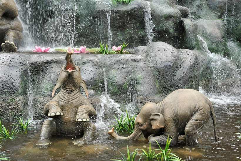 2匹の赤ちゃんゾウが水浴びをしている画像