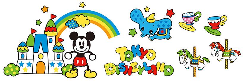 東京ディズニーランドの様子が虹や星と一緒にカラフルに描かれたアート