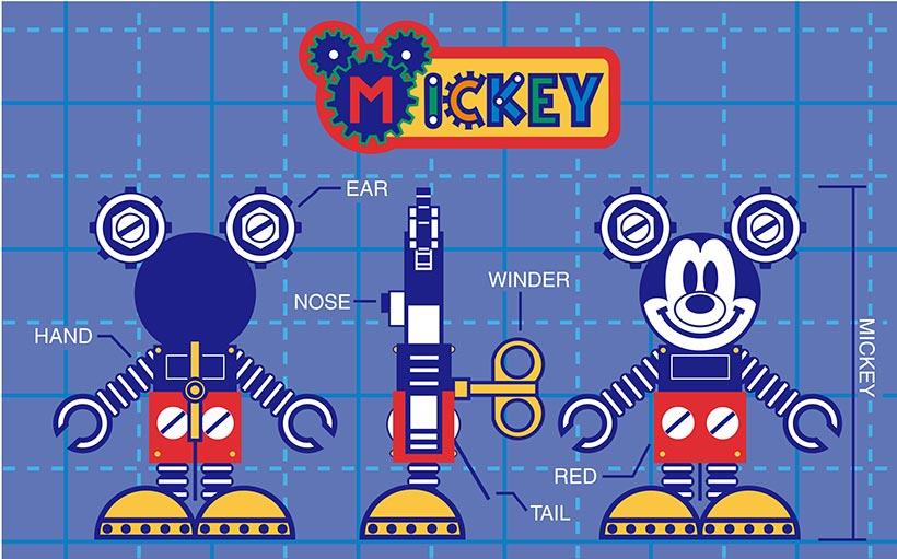 ロボットの姿のミッキーのアートの画像