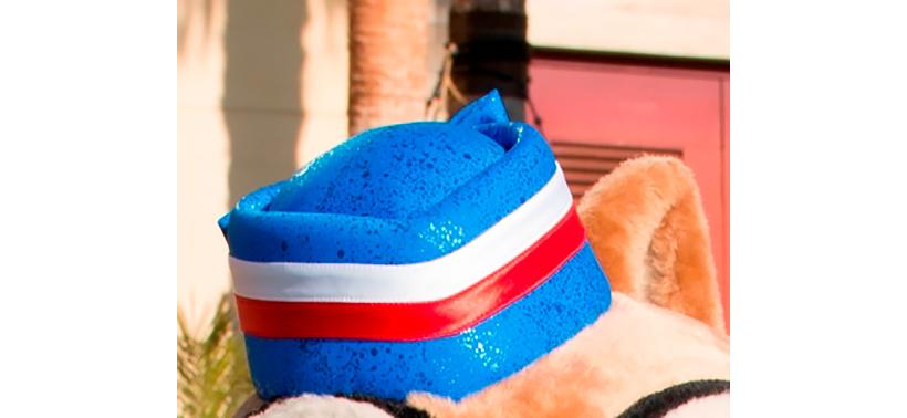 赤と白のラインが入ったブルーの帽子の画像