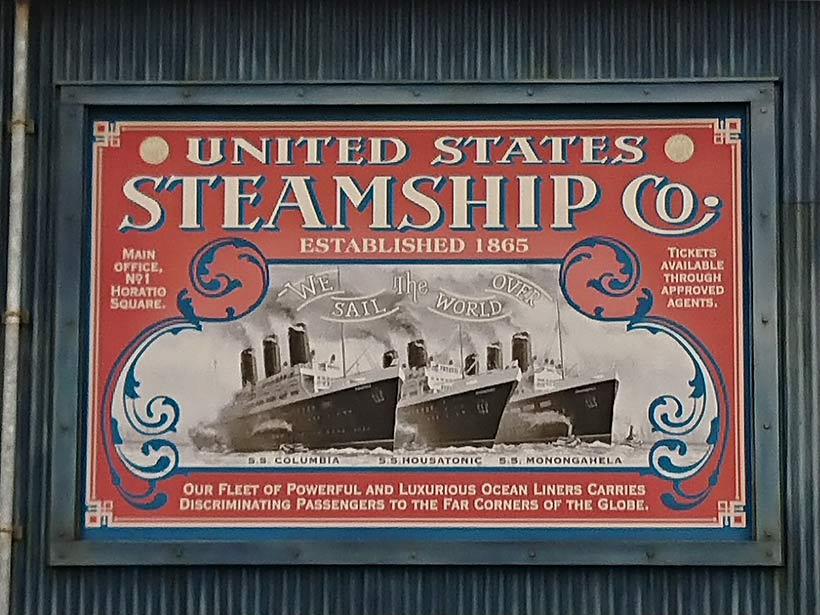 S.S.コロンビア号、S.S.フーサトニック号、S.S.モノンガヒラ号が描かれたポスター画像
