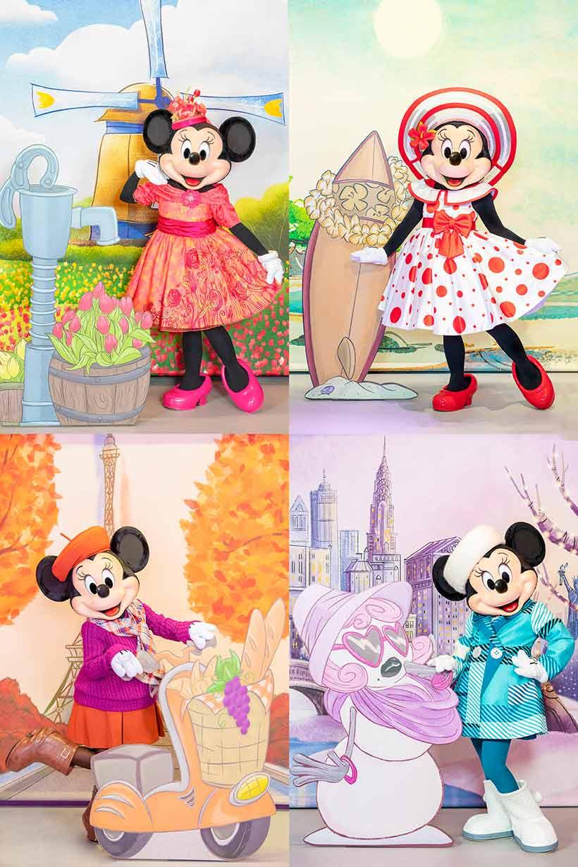 季節ごとに異なるおしゃれなファッションに身を包んだミニーマウスの画像