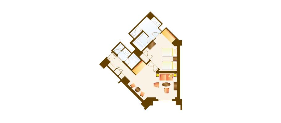 家庭客房(乐园景观)のレイアウト1