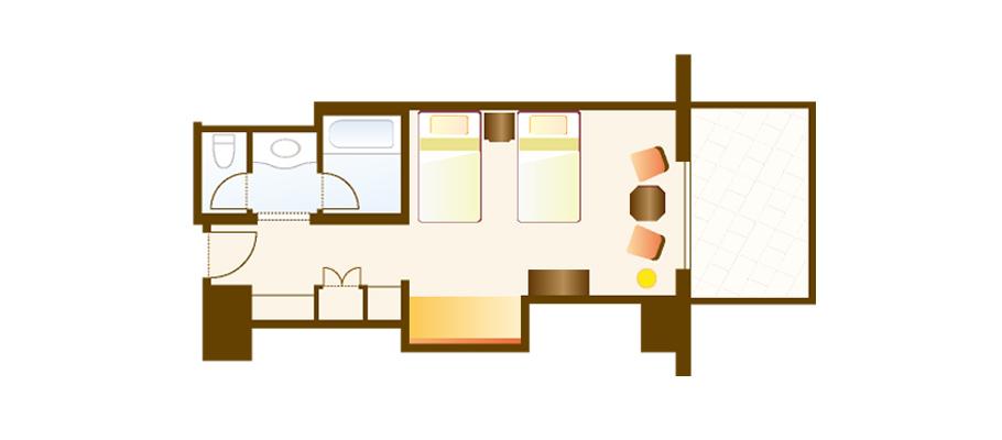 阳台&凹室客房(乐园全景观)のレイアウト1