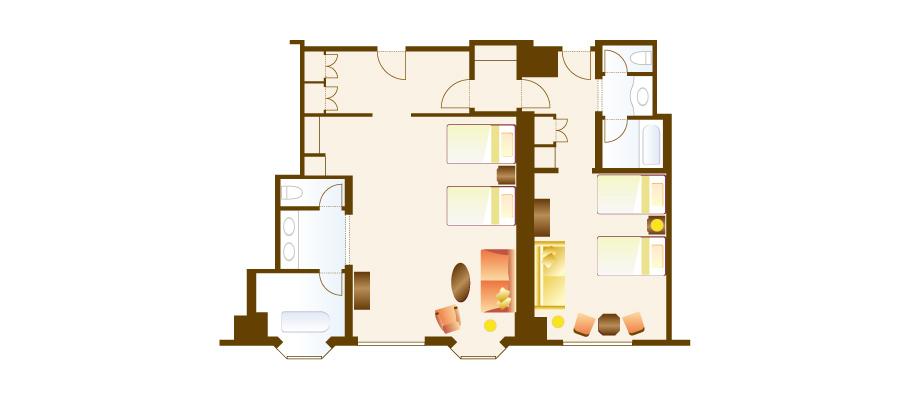 家庭客房(樂園景觀)のレイアウト1
