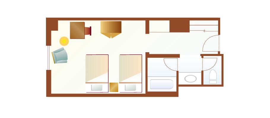 슈피리어 룸(피아차 뷰)のレイアウト1