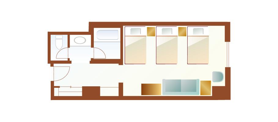 三床客房(广场景观)のレイアウト1