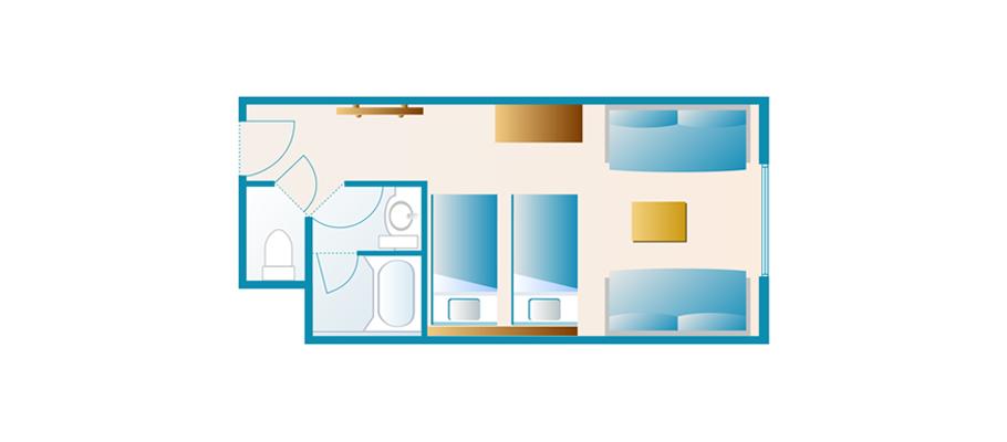 心愿楼:标准客房(庭院景观区)のレイアウト1
