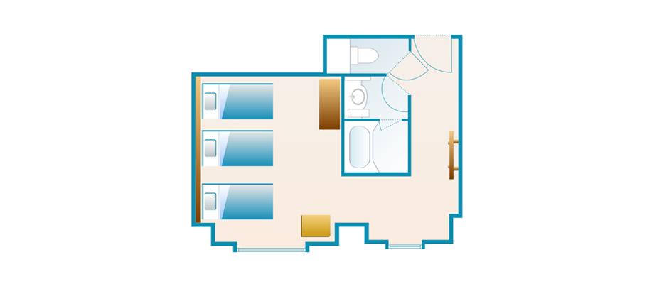 探索楼:三床客房のレイアウト1