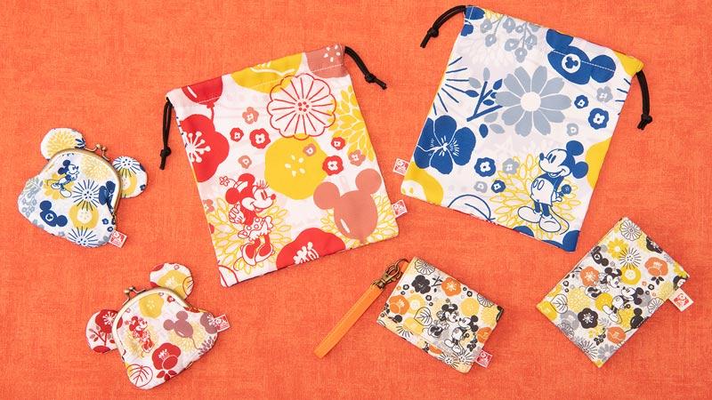 パークの四季の花とミッキーとミニーがデザインされた和モダンなグッズのイメージ