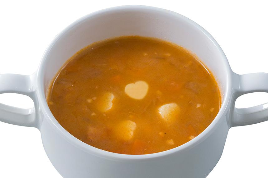 ハートのチーズ入りミネストローネのイメージ