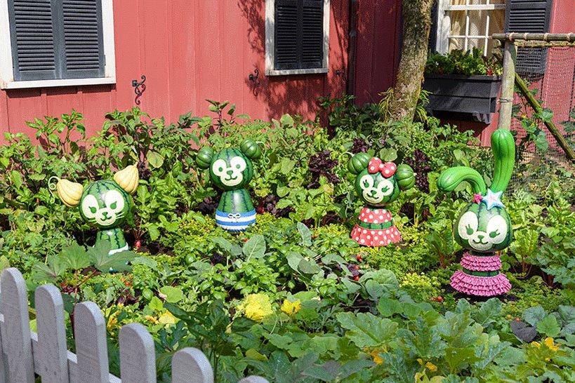 【ダッフィーたちがスイカに?!】「アーント・ペグズ・ヴィレッジストア」の右奥の菜園には、ダッフィーたちをモチーフにしたデコレーションがあるんですよ♪ぜひ探してみてくださいね。...のイメージ